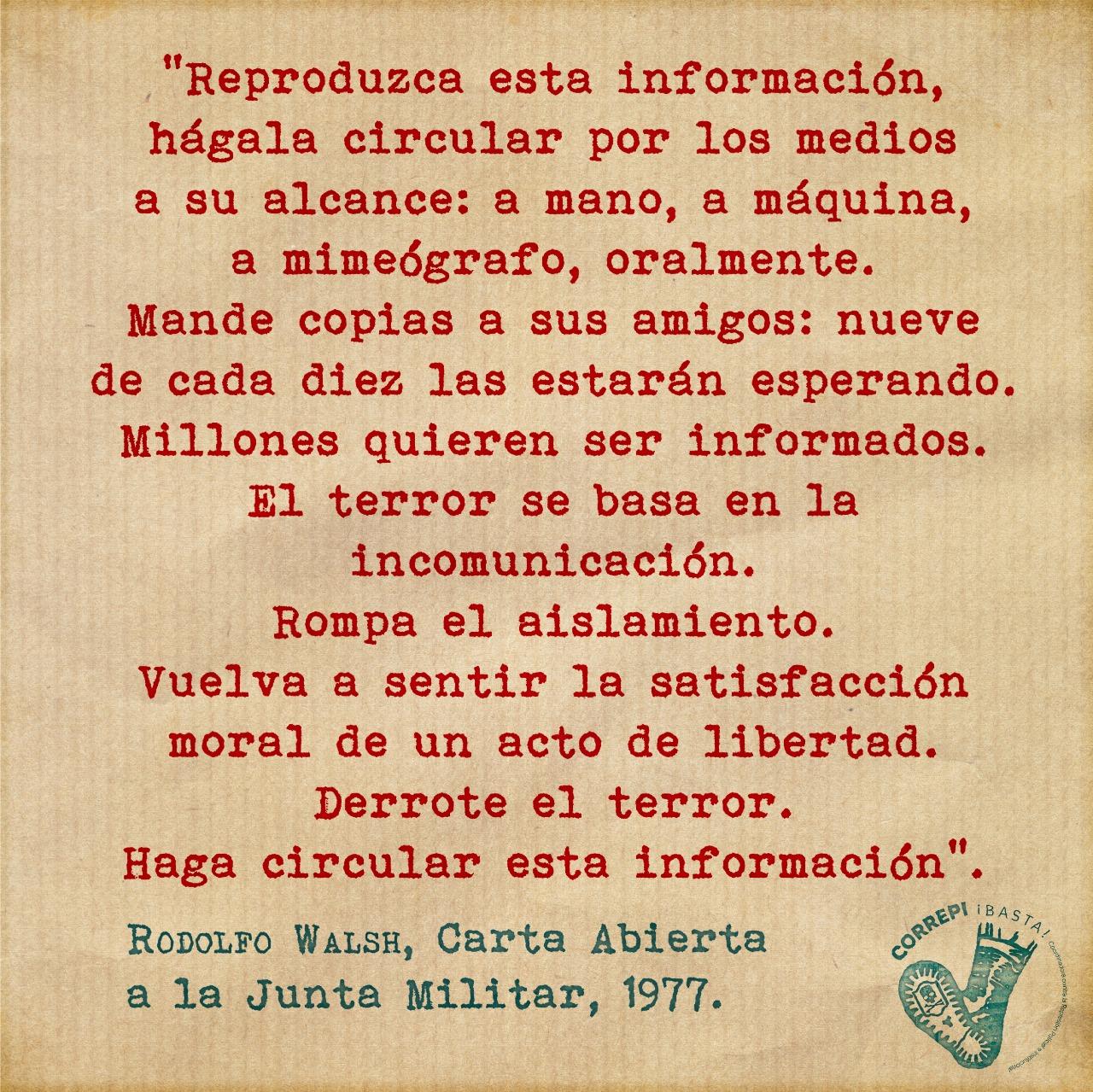 Rodolfo Walsh Carta a la Junta Militar